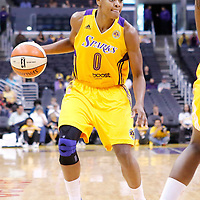 22 June 2014: guard/forward Alana Beard (0) of the Los Angeles Sparks dribbles during the San Antonio Stars 72-69 victory over the Los Angeles Sparks, at the Staples Center, Los Angeles, California, USA.