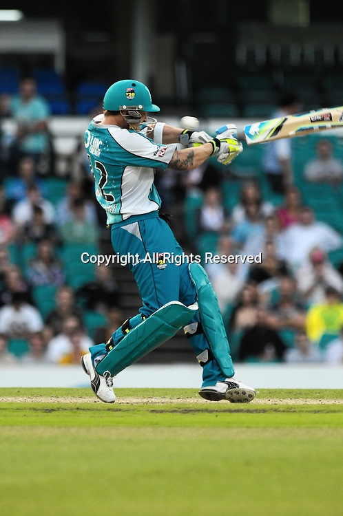 16.12.2011 Sydney, Australia.Brisbane Heats New Zealand wicket keeper Brendon McCullum plays and misses,the ball about to hit him on the nose during then T20 Big Bash League game between Sydney Sixers and Brisbane Heat at the Sydney Cricket Ground.