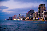 Israel, Tel Aviv sea front and hotel strip at sunset as seen from the south