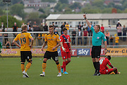 Newport County defender Matt Partridge receives a caution during the Sky Bet League 2 match between Newport County and York City at Rodney Parade, Newport, Wales on 5 September 2015. Photo by Simon Davies.