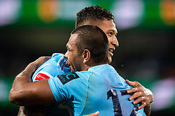 March 23, 2019 - Sydney, NSW, U.S. - SYDNEY, NSW - MARCH 23: Waratahs player Kurtley Beale (12) celebrates the try of Waratahs player Israel Folau (15) at round 6 of Super Rugby between NSW Waratahs and Crusaders on March 23, 2019 at The Sydney Cricket Ground, NSW. (Photo by Speed Media/Icon Sportswire) (Credit Image: © Speed Media/Icon SMI via ZUMA Press)