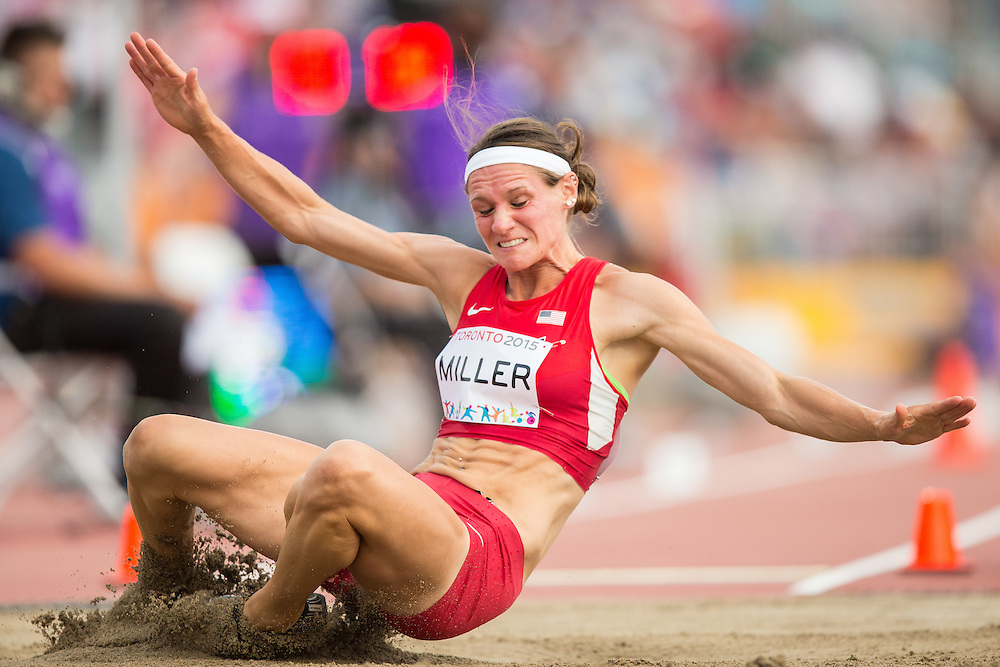 Heather Miller of the United States competes in the long jump event of the women's heptathlon at the 2015 Pan American Games at CIBC Athletics Stadium in Toronto, Canada, July 25,  2015.  AFP PHOTO/GEOFF ROBINS