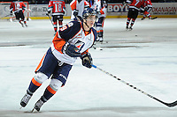 KELOWNA, CANADA, OCTOBER 29: Colin Smith #9 of the Kamloops Blazers warms up as the Kamloops Blazers visit the Kelowna Rockets  on October 29, 2011 at Prospera Place in Kelowna, British Columbia, Canada (Photo by Marissa Baecker/Shoot the Breeze) *** Local Caption *** Colin Smith;