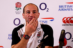 Steve Borthwick and George Kruis of England take part in a press conference ahead of the Guinness Six Nations fixture with Italy - Mandatory by-line: Robbie Stephenson/JMP - 08/03/2019 - RUGBY - England - Training session ahead of Guinness Six Nations match against Italy