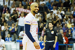 09.01.2016, Max Schmeling Halle, Berlin, GER, CEV Olympia Qualifikation, Frankreich vs Polen, im Bild Earvin Ngapeth (#9, FRA) happy / freut sich / Freude // during 2016 CEV Volleyball European Olympic Qualification Match between France and Poland at the Max Schmeling Halle in Berlin, Germany on 2016/01/09. EXPA Pictures © 2016, PhotoCredit: EXPA/ Eibner-Pressefoto/ Wuechner<br /> <br /> *****ATTENTION - OUT of GER*****
