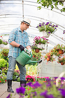 Full-length of man watering flower plants in greenhouse