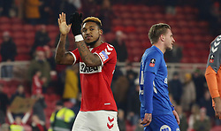 Britt Assombalonga of Middlesbrough acknowledges the Peterborough United supporters at full-time - Mandatory by-line: Joe Dent/JMP - 05/01/2019 - FOOTBALL - Riverside Stadium - Middlesbrough, England - Middlesbrough v Peterborough United - Emirates FA Cup third round proper