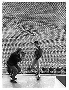 Portrait of Anton Corbijn and David Gahan of Depeche Mode, photographed at Pasadena Rose Bowl, June 1988.