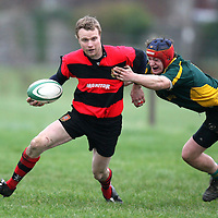Seaqn O'Flanagan in possession for Ennis during the Ennis V Fermoy match at Ennis Rugby Grounds on Saturday.<br /><br />Photograph by Eamon Ward