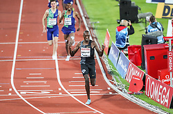 STOCKHOLM, May 31, 2019  Timothy Cheruiyot (Front) of Kenya competes during the men's 1500m at 2019 IAAF Diamond League in Stockholm, capital of Sweden, on May 30, 2019. Timothy Cheruiyot won the 1st place with 3 minutes and 35.79 seconds. (Credit Image: © Xinhua via ZUMA Wire)