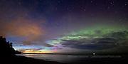 Auroral arc, dusk, lake superior, marquette, Michigan, Upper Peninsula, northern lights