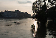 Paris . Flooding . The Seine river  IN Paris city center quai de l hotel de ville