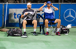 Illya Marchenko of Ukraine and Igor Zelenay of Slovakia playing doubles during ATP Challenger Zavarovalnica Sava Slovenia Open 2019, day 6, on August 14, 2019 in Sports centre, Portoroz/Portorose, Slovenia. Photo by Vid Ponikvar / Sportida