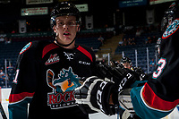 KELOWNA, CANADA - SEPTEMBER 5: Kyle Pow #21 of the Kelowna Rockets celebrates a goal against the Kamloops Blazers on September 5, 2017 at Prospera Place in Kelowna, British Columbia, Canada.  (Photo by Marissa Baecker/Shoot the Breeze)  *** Local Caption ***