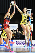 Tactix player Charlotte Elley and Pulse player Karin Burger during the 2018 Super Club Netball Final Tactix v Pulse. Trafalgar Centre, Nelson, New Zealand. Friday 24 August 2018. ©Copyright Photo: Chris Symes / www.photosport.nz