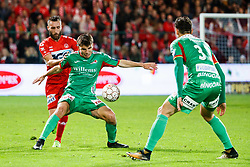 September 30, 2017 - Kortrijk, BELGIUM - Kortrijk's Idir Ouali and Oostende's Aleksandar Bjelica fight for the ball during the Jupiler Pro League match between KV Kortrijk and KV Oostende, in Kortrijk, Saturday 30 September 2017, on the ninth day of the Jupiler Pro League, the Belgian soccer championship season 2017-2018. BELGA PHOTO KURT DESPLENTER (Credit Image: © Kurt Desplenter/Belga via ZUMA Press)