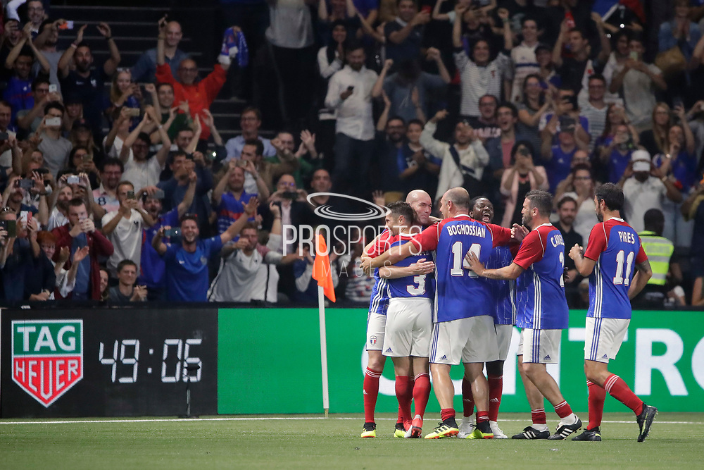 Zinedine Zidane (France 98) scored a goal, celebration with Bixente Lizarazu (France 98), Bernard Diomede (France 98), Robert Pires (France 98), during the 2018 Friendly Game football match between France 98 and FIFA 98 on June 12, 2018 at U Arena in Nanterre near Paris, France - Photo Stephane Allaman / ProSportsImages / DPPI