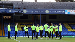 Peterborough United players check out the Roots Hall pitch before kick-off - Mandatory by-line: Joe Dent/JMP - 20/08/2019 - FOOTBALL - Roots Hall - Southend-on-Sea, England - Southend United v Peterborough United - Sky Bet League One