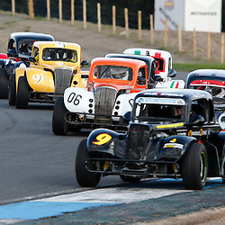 KNOCKHILL Scottish Motor Racing Club meeting.Close racing on the first lap of race 8 of the scottish legends cars championship......(c) STEPHEN LAWSON | StockPix.eu