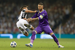 3rd June 2017 - UEFA Champions League Final - Juventus v Real Madrid - Sergio Ramos of Real battles with Paulo Dybala of Juventus - Photo: Simon Stacpoole / Offside.