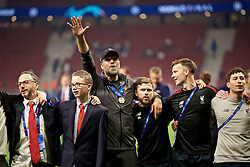 MADRID, SPAIN - SATURDAY, JUNE 1, 2019: Liverpool's manager Jürgen Klopp celebrates after the UEFA Champions League Final match between Tottenham Hotspur FC and Liverpool FC at the Estadio Metropolitano. Liverpool won 2-0 to win their sixth European Cup. (Pic by David Rawcliffe/Propaganda)