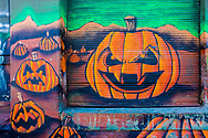 Halloween mural with pumpkins at Hunters Point, Long Island City.