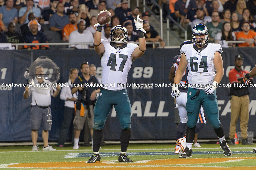 19 September 2016: Philadelphia Eagles Tight End Trey Burton (47) [12300] celebrates a touchdown catch thrown by Philadelphia Eagles Quarterback Carson Wentz (11) [21352] during an NFL football game between the Philadelphia Eagles and the Chicago Bears at Solider Field in Chicago, IL. The Philadelphia Eagles won 29-14. (Photo by Daniel Bartel/Icon Sportswire)