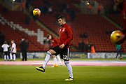 Sheffield United defender John Egan (12) warming up during the EFL Sky Bet Championship match between Sheffield United and West Bromwich Albion at Bramall Lane, Sheffield, England on 14 December 2018.