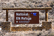 Entrance sign at the National Elk Refuge, Jackson Hole, Wyoming