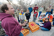 Chris Nicolai speaks to students & volunteers at a Wood Duck banding project Aix sponsa, female, tarsal band & geolocator nasal tag, Churchill County, Nevada