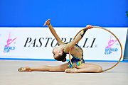 "Bevilacqua Sofia during hoop routine at the International Tournament of rhythmic gymnastics ""Città di Pesaro"", 01 April, 2016. Sofia is an Italian individualistic gymnast, born on March 01, 2002 in Fano.<br />