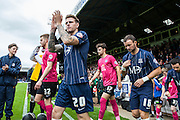 Southend player Glen Rea on loan from Brighton & Hove Albion applauds the fans as he walks out to the pitch before the Sky Bet League 1 match between Southend United and Peterborough United at Roots Hall, Southend, England on 5 September 2015. Photo by Bennett Dean.