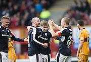 Dundee&rsquo;s Craig Wighton is congratualed by Henrik Ojamaa and James Vincent - Motherwell v Dundee in the Ladbrokes Scottish Premiership at Fir Park, Motherwell.Photo: David Young<br /> <br />  - &copy; David Young - www.davidyoungphoto.co.uk - email: davidyoungphoto@gmail.com