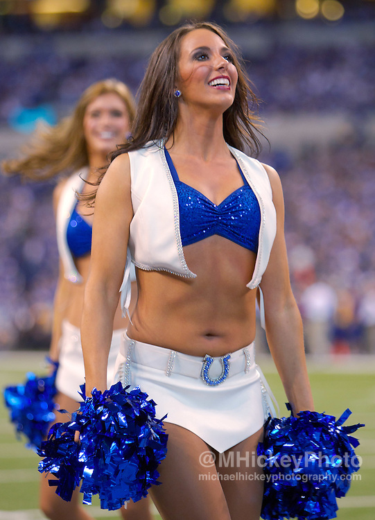 Nov. 13, 2011; Indianapolis, IN, USA; An An Indianapolis Colts cheerleader seen during the game against the Jacksonville Jaguars at Lucas Oil Stadium. Mandatory credit: Michael Hickey-US PRESSWIRE