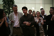 Conrad Shawcross and his father William Shawcross, Space Trumpet- Conrad Shawcross. Hosted by Unilever, Anderson O'Day Fine Art and Victoria Miro. Unilever Building. 100 Victoria Embankment. 23 May 2007. <br /> -DO NOT ARCHIVE-© Copyright Photograph by Dafydd Jones. 248 Clapham Rd. London SW9 0PZ. Tel 0207 820 0771. www.dafjones.com.