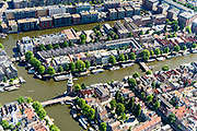 Nederland, Noord-Holland, Amsterdam, 29-06-2018; centrum van de stad, Nieuwmarktbuurt, met Recht Boomssloot en Oude Schans. Montelbaanstoren. Nieuwe Uilenburgerstraat.<br /> City centre, Nieuwmarkt quarter.<br /> <br /> luchtfoto (toeslag op standard tarieven);<br /> aerial photo (additional fee required);<br /> copyright foto/photo Siebe Swart