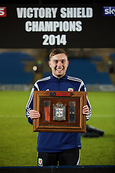 BALLYMENA, NORTHERN IRELAND - Thursday, November 20, 2014: Wales' xxxx with the trophy after the 2-0 victory over Northern Ireland during the Under-16's Victory Shield International match at the Ballymena Showgrounds. (Pic by David Rawcliffe/Propaganda)