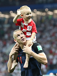 MOSCOW, July 11, 2018  Domagoj Vida (bottom) of Croatia celebrates victory after the 2018 FIFA World Cup semi-final match between England and Croatia in Moscow, Russia, July 11, 2018. Croatia won 2-1 and advanced to the final. (Credit Image: © Cao Can/Xinhua via ZUMA Wire)