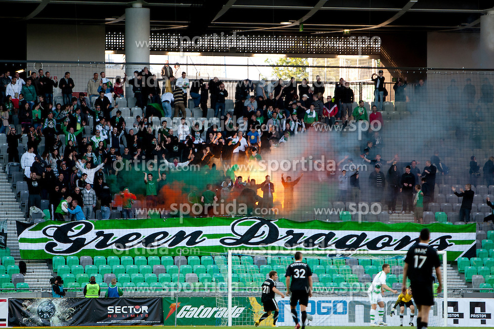 Green Dragons during football match between NK Olimpija and NK Mura 05  35th Round of PrvaLiga 2011/12, on May 12, 2012 in SRC Stozice, Ljubljana, Slovenia. (Photo by Urban Urbanc / Sportida.com)