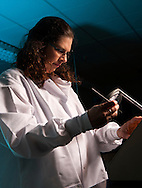 """Dr. Christina Dewitt  researcher for Animal Science and the Robert M. Kerr Food & Agricultural Products Center studying bacteria growth as part of the """"farm to table"""" initiative of Oklahoma State University Division of Agricultural Sciences and Natural Resources research and extension work."""