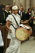 December 11, 2013-New York, NY:  Ase Drumming Circle attends the Nelson Mandela Commemorative Memorial service held at the Riverside Church on December 11, 2013 in New York City. Nelson Rolihlahla Mandela was inaugurated as the first black President of a democratic South Africa on May 10, 1994 bringing democracy and ending the oppressive rule of apartheid . (Terrence Jennings)