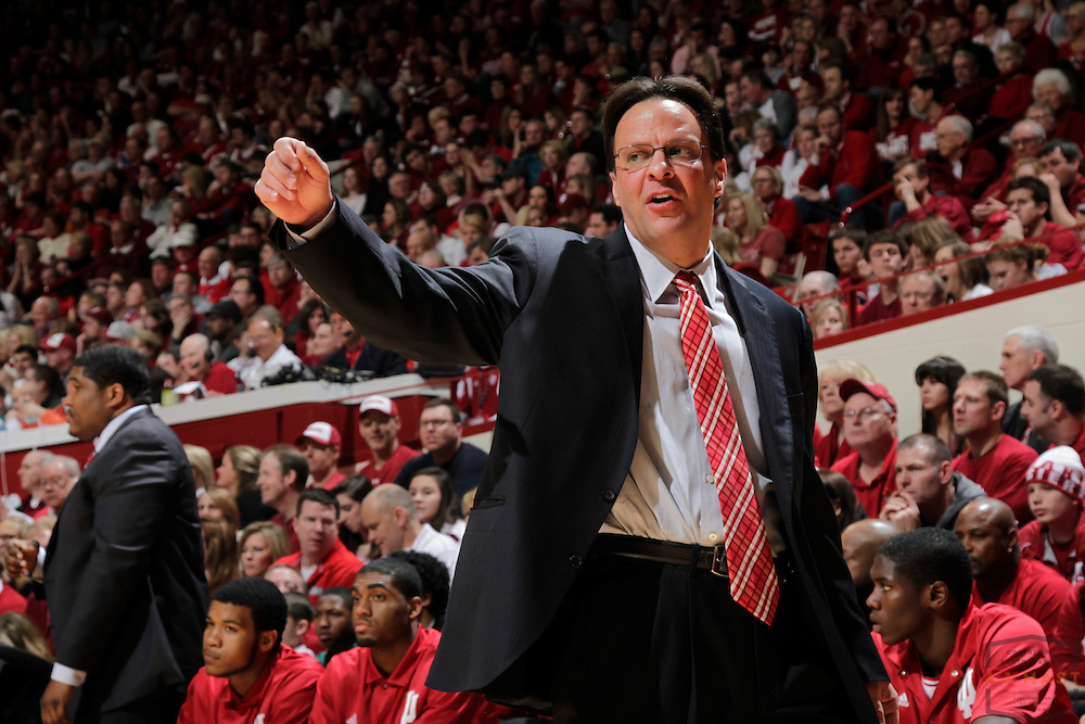 02 March 2013: Indiana head coach Tom Crean as the Indiana Hoosiers played the Iowa Hawkeyes in a college basketball game in Bloomington, Ind.