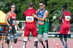 OLIVEIRA Alan Fonteles, BEHRE David, LEEPER Blake, KENNISON Joshua, BRA, USA, GER, 200m, T43, 2013 IPC Athletics World Championships, Lyon, France