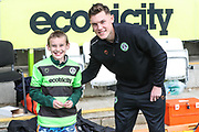 Ambassador receiving award from Forest Green Rovers Paul Digby(20) during the EFL Sky Bet League 2 match between Forest Green Rovers and Macclesfield Town at the New Lawn, Forest Green, United Kingdom on 13 April 2019.