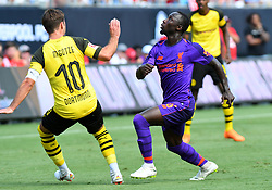 July 22, 2018 - Charlotte, NC, U.S. - CHARLOTTE, NC - JULY 22: Liverpool Naby Keita (8) keeps his eyes on the ball in the air during an International Champions Cup match between LiverPool FC and Borussia Dortmund on July 22, 2018 at Bank Of America Stadium in Charlotte,NC.(Photo by Dannie Walls/Icon Sportswire) (Credit Image: © Dannie Walls/Icon SMI via ZUMA Press)