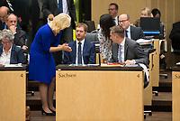 DEU, Deutschland, Germany, Berlin, 21.09.2018: Mecklenburg-Vorpommerns Ministerpräsidentin Manuela Schwesig (SPD), Sachsens Ministerpräsident Michael Kretschmer (CDU), die Berliner Staatssekretärin Sawsan Chebli,  Sachsens Wirtschaftsminister Martin Dulig (SPD), während einer Sitzung im Bundesrat.