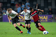 SYDNEY, AUSTRALIA - NOVEMBER 22: Western Sydney Wanderers forward Kwame Yeboah (27) dribbles the ball under pressure from Melbourne City forward Javier Cabrera (8) during the round 7 A-League soccer match between Western Sydney Wanderers FC and Melbourne City FC on November 22, 2019 at Bankwest Stadium in Sydney, Australia. (Photo by Speed Media/Icon Sportswire)