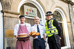 Pictured: Chef Donald Macleod, Iain Wilson, Salvation Army Service manager Edinburgh homeless service and Chief Inspector Helen Harrison.<br /> <br /> Police Scotland's Chief Inspector Helen Harrison stopped by at the Lighthouse, at The Pleasance, Edinburgh, today to launch operation Winter City alongside the Salvation Army. The Annual multi-agency initiative involves Police Scotland which helps keep people safe over the Christmas and New Year period. <br /> <br /> Ger Harley | EEm Date