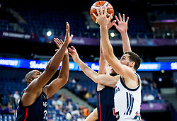 Goran Dragic of Slovenia vs Boris Diaw of France and Nando de Colo of France during basketball match between National Teams of Slovenia and France at Day 7 of the FIBA EuroBasket 2017 at Hartwall Arena in Helsinki, Finland on September 6, 2017. Photo by Vid Ponikvar / Sportida
