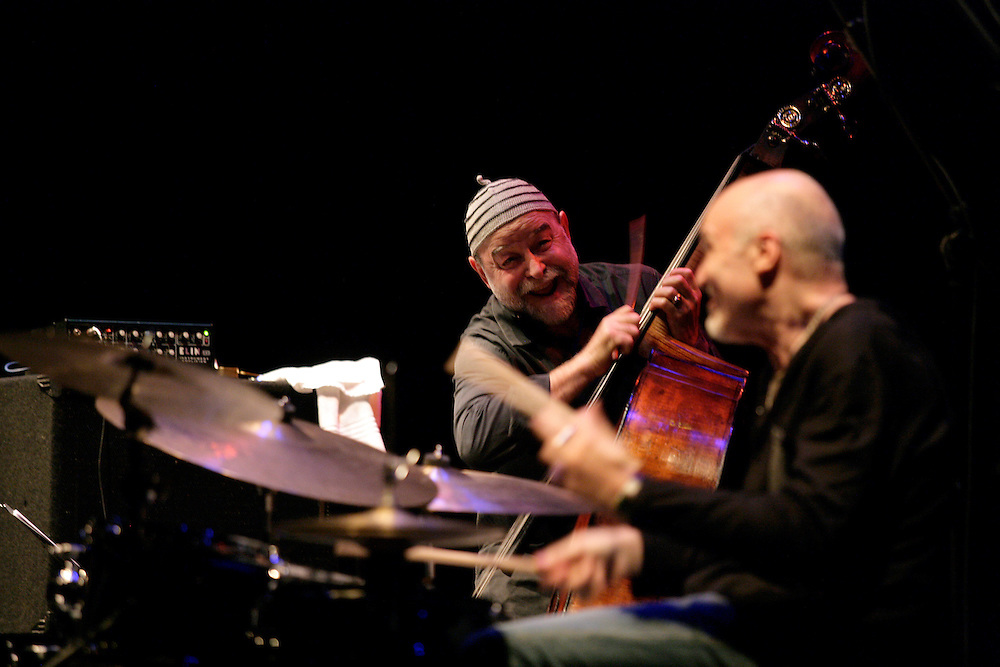 "Henri Texier and Aldo Romano during a Romano/Sclavis/Texier Trio performance. ""Jazz ao Centro"" jazz festival is held twice a year in portuguese town of Coimbra."
